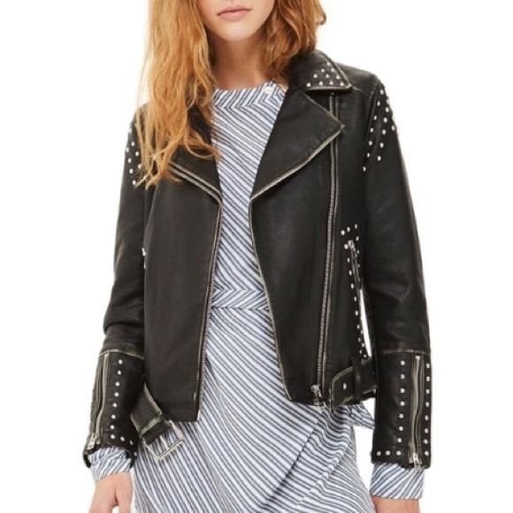 8d441b2be Topshop Naomi leather studded moto biker jacket